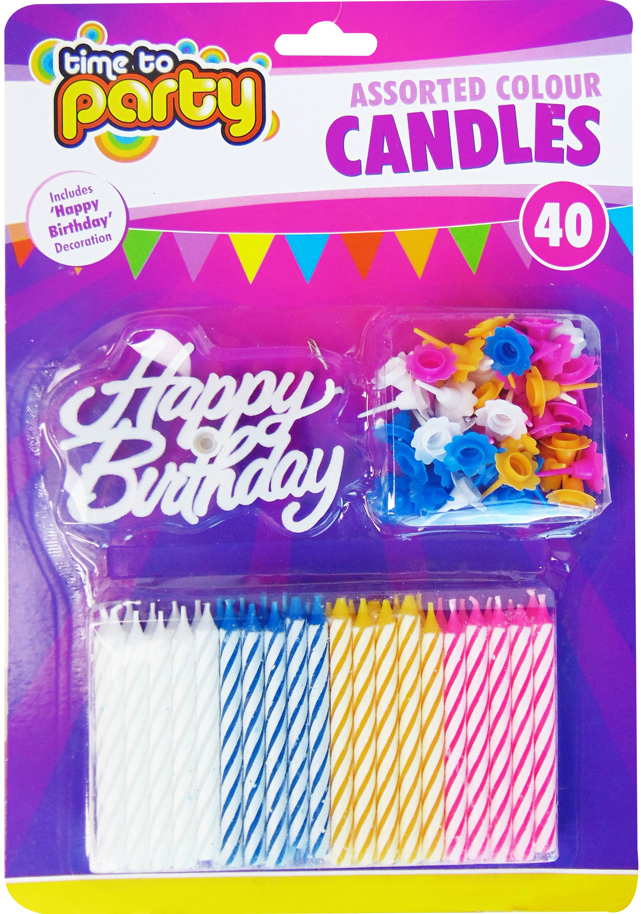 Wholesale Time To Party Happy Birthday Candle Set