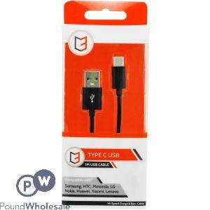VIBE TYPE C BLACK USB CABLE 1M