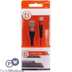 HI-SPEED TYPE C USB BRAIDED CABLE RED