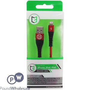 APPLE IPHONE HI-SPEED BRAIDED CABLE RED 1M