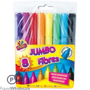 ARTBOX JUMBO FIBRES ASSORTED COLOURS 8 PACK
