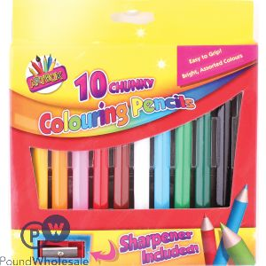ARTBOX CHUNKY COLOURING PENCILS ASSORTED COLOURS 10 PACK
