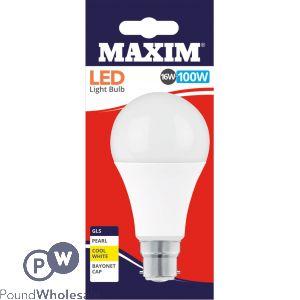 MAXIM LED LIGHT BULB 16W=100W GLS PEARL COOL WHITE BAYONET CAP