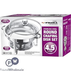 PRIMA STAINLESS STEEL ROUND CHAFING DISH SET 4.5L