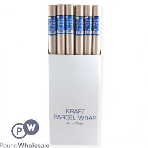 KRAFT PARCEL WRAP BROWN 4M X 70CM FSDU