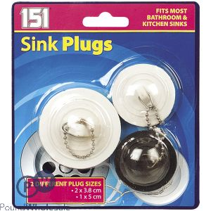 151 SINK PLUGS ASSORTED 3 PACK