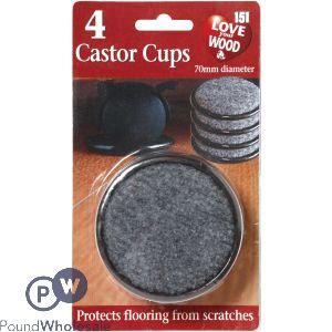 LOVE YOUR WOOD CASTOR CUPS 4PK
