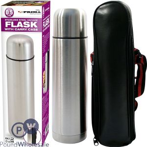 PRIMA STAINLESS STEEL FLASK WITH CARRY CASE 0.5L