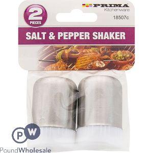 PRIMA STAINLESS STEEL SALT & PEPPER SHAKERS 2PC