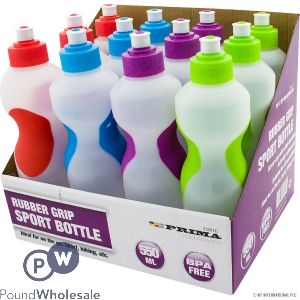 PRIMA 550ML RUBBER GRIP SPORT BOTTLE CLEAR ASSORTED COLOURS CDU