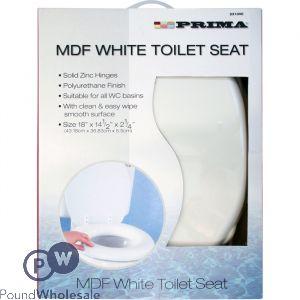 """PRIMA MDF WHITE TOILET SEAT 18"""""""