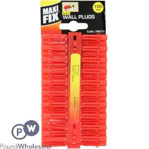 MAXIFIX 100PC 6MM RED PLASTIC WALL PLUGS