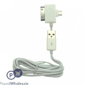 2 IN 1 USB CHARGE AND SYNC DATA CABLE WHITE - COMPATIBLE WITH ALL ANDROID AND IPHONE4/IPAD 2