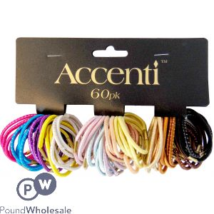 ACCENTI ASSORTED COLOURED HAIR BANDS 60PK