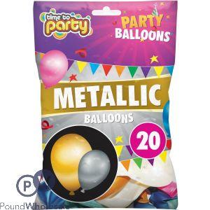TIME TO PARTY METALLIC BALLOONS 20PK