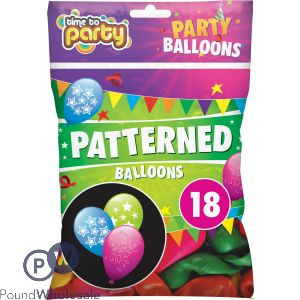 TIME TO PARTY PATTERNED BALLOONS 18PK