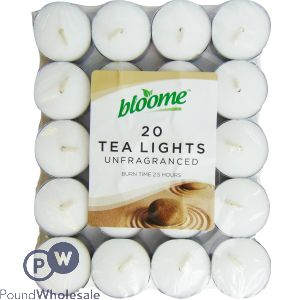 BLOOME 20 UNFRAGRANCED TEA LIGHTS
