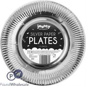 """SILVER PAPER PLATES 9"""" 15 PACK"""