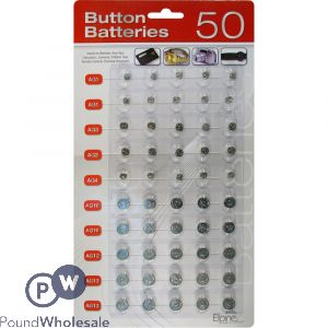 1.5V BUTTON CELL BATTERY 50PC