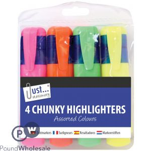 JUST STATIONERY CHUNKY HIGHLIGHTERS ASSORTED COLOURS 4 PACK
