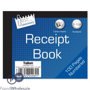 JUST STATIONERY RECEIPT BOOK 100 NUMBERED PAGES