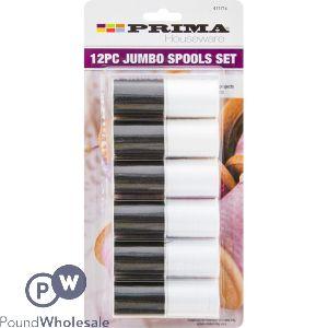 PRIMA JUMBO BLACK & WHITE THREAD SPOOLS SET 12 PACK