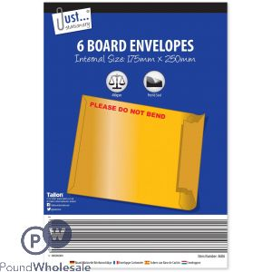 JUST STATIONERY BOARD ENVELOPES 6 PACK 175 X 250MM