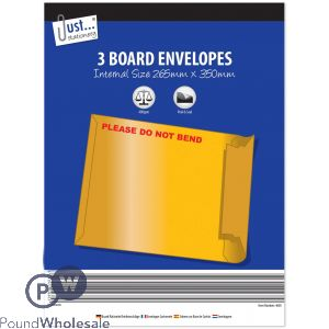 JUST STATIONERY BOARD ENVELOPES 3 PACK 265 X 350MM