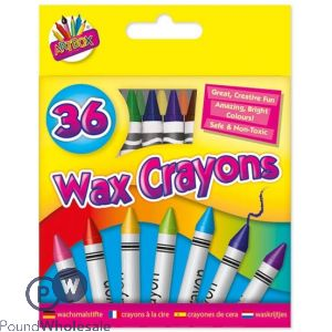 ARTBOX WAX CRAYONS ASSORTED COLOURS 36 PACK
