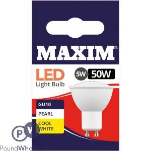 MAXIM GU10 LED 5W = 50W COOL WHITE LED BULBS