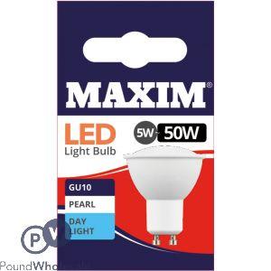 MAXIM GU10 LED 5W = 50W DAY LIGHT WHITE LED BULBS