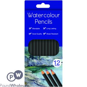 WATERCOLOUR PENCILS ASSORTED COLOURS 12 PACK