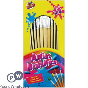 ARTBOX ASSORTED SIZE ARTIST PAINT BRUSHES 12 PACK