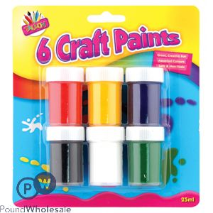 ARTBOX CRAFT PAINT POTS ASSORTED COLOURS 6 PACK
