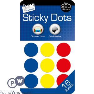 JUST STATIONERY 280+ STICKY DOTS ASSORTED COLOURS