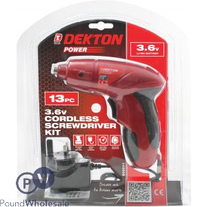 DEKTON POWER 3.6V CORDLESS SCREWDRIVER KIT 13PC
