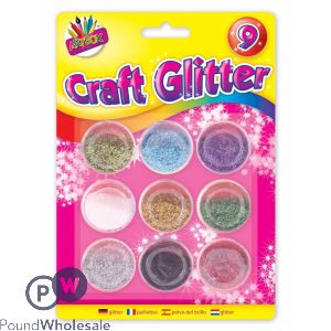 ARTBOX METALLIC COLOUR GLITTER POTS 16G 9 PACK