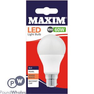 MAXIM LED LIGHT BULB 10W=60W GLS PEARL WARM WHITE BAYONET CAP