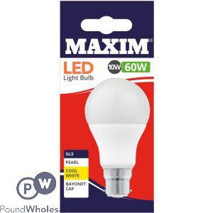 MAXIM LED LIGHT BULB 10W=60W GLS PEARL COOL WHITE BAYONET CAP