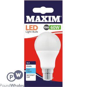 MAXIM LED LIGHT BULB 10W=60W GLS PEARL DAY LIGHT WHITE BAYONET CAP