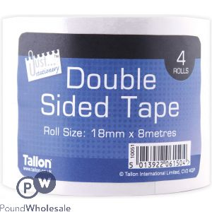 JUST STATIONERY DOUBLE-SIDED TAPE 18MM X 8M 4 PACK