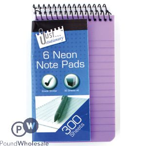 6 NEON PVC NOTEBOOKS (76 x 126mm) Assd cols, Shrink wrapped