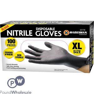 MARKSMAN BLACK NITRILE DISPOSABLE GLOVES XL 100PC
