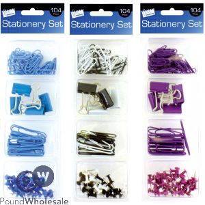 JUST STATIONERY MIXED CLIPS & PINS STATIONERY SET 104PC ASSORTED