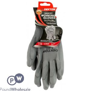 DEKTON SNUG FIT GREY WORKING GLOVES PU COATED 9/LARGE