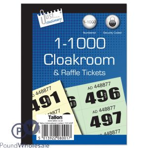 JUST STATIONERY 1-1000 NUMBERED CLOAKROOM & RAFFLE TICKETS CDU