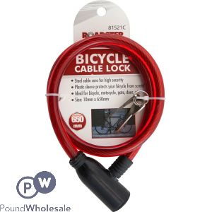 ROADSTER BICYCLE CABLE LOCK WITH 2 KEYS 10MM X 650MM