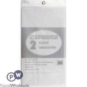 PLASTIC TABLE COVERS WHITE 2 PACK