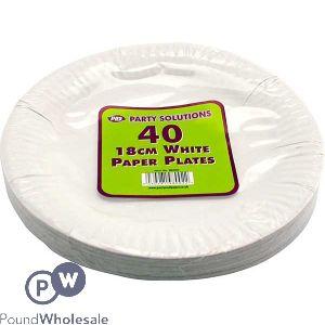 PAPER PLATES WHITE 18CM 40 PACK