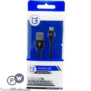 MICRO USB BRAIDED CABLE 1M BLACK
